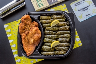 GetMumm | Chicken Pane with Vine leaves and green salad